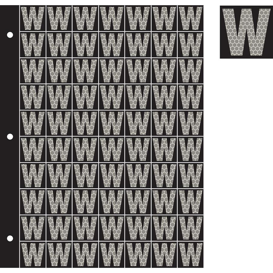"1"" Silver on Black SunBright® Reflective ""W"""