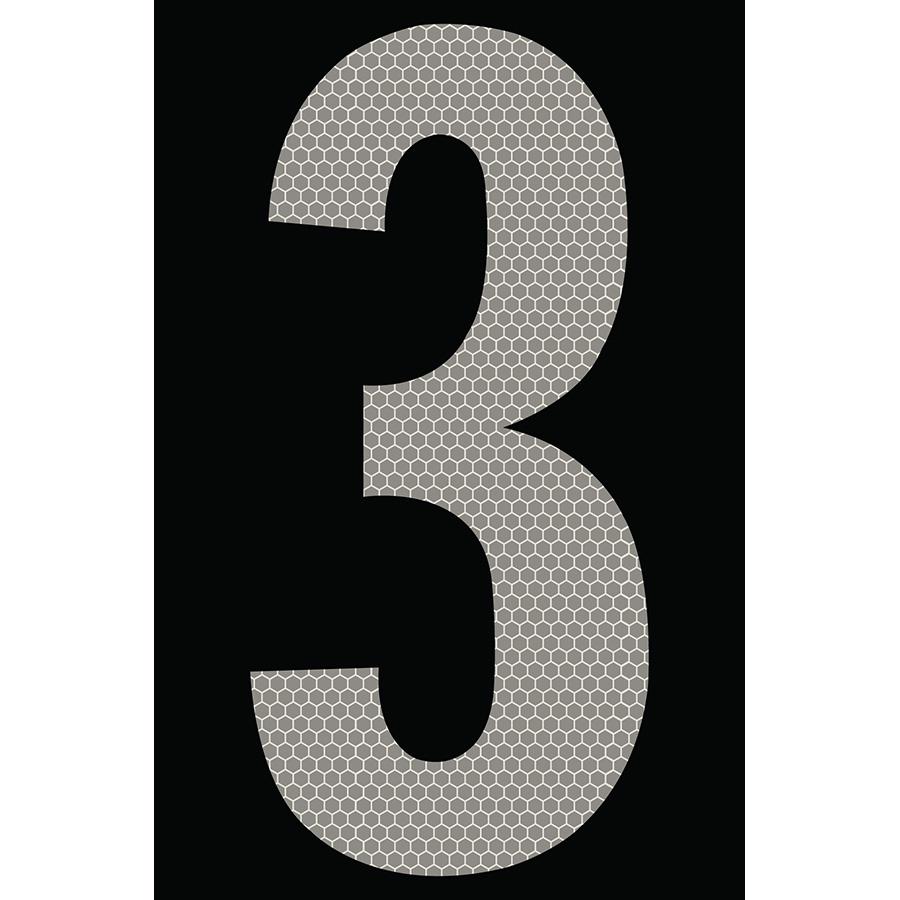 "4"" Silver on Black SunBright® Reflective ""3"""