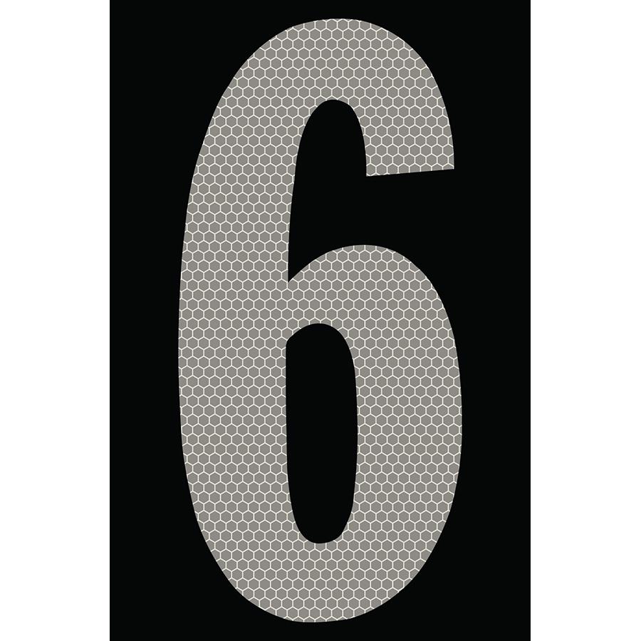 "4"" Silver on Black SunBright® Reflective ""6"""