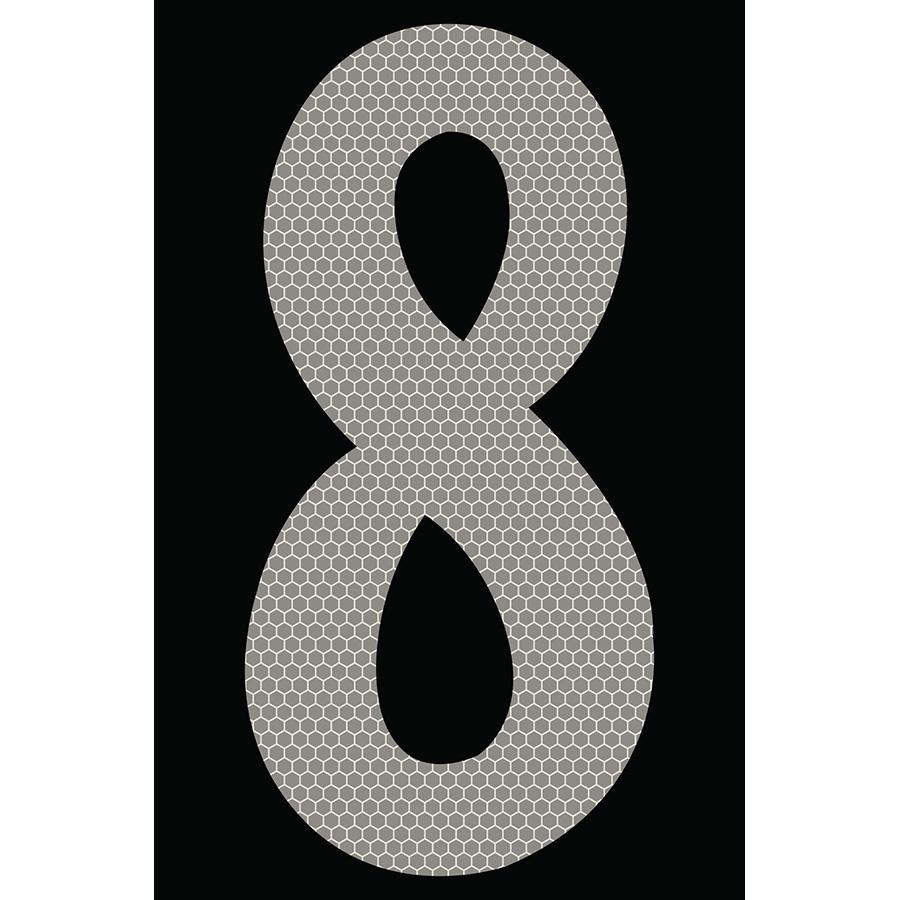 "4"" Silver on Black SunBright® Reflective ""8"""