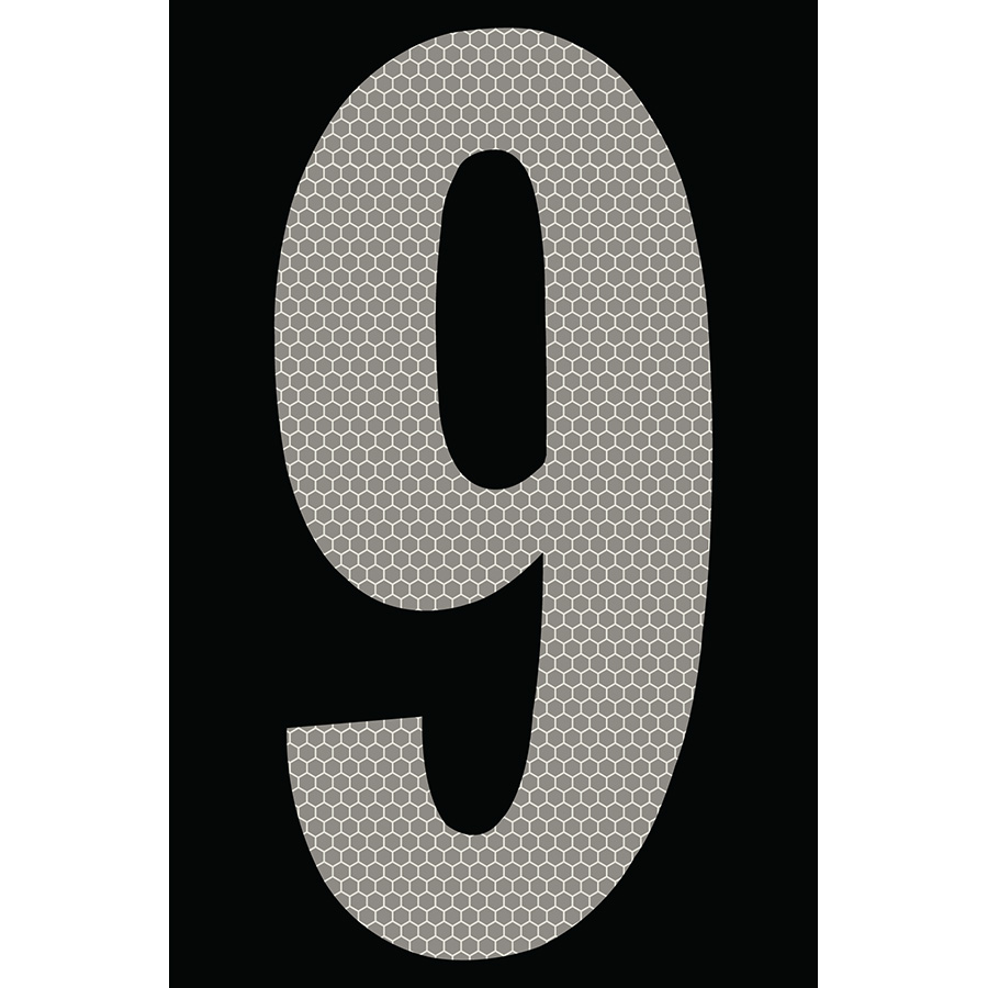 "4"" Silver on Black SunBright® Reflective ""9"""
