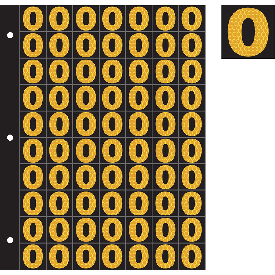 "1"" Yellow on Black SunBright® Reflective ""0"""