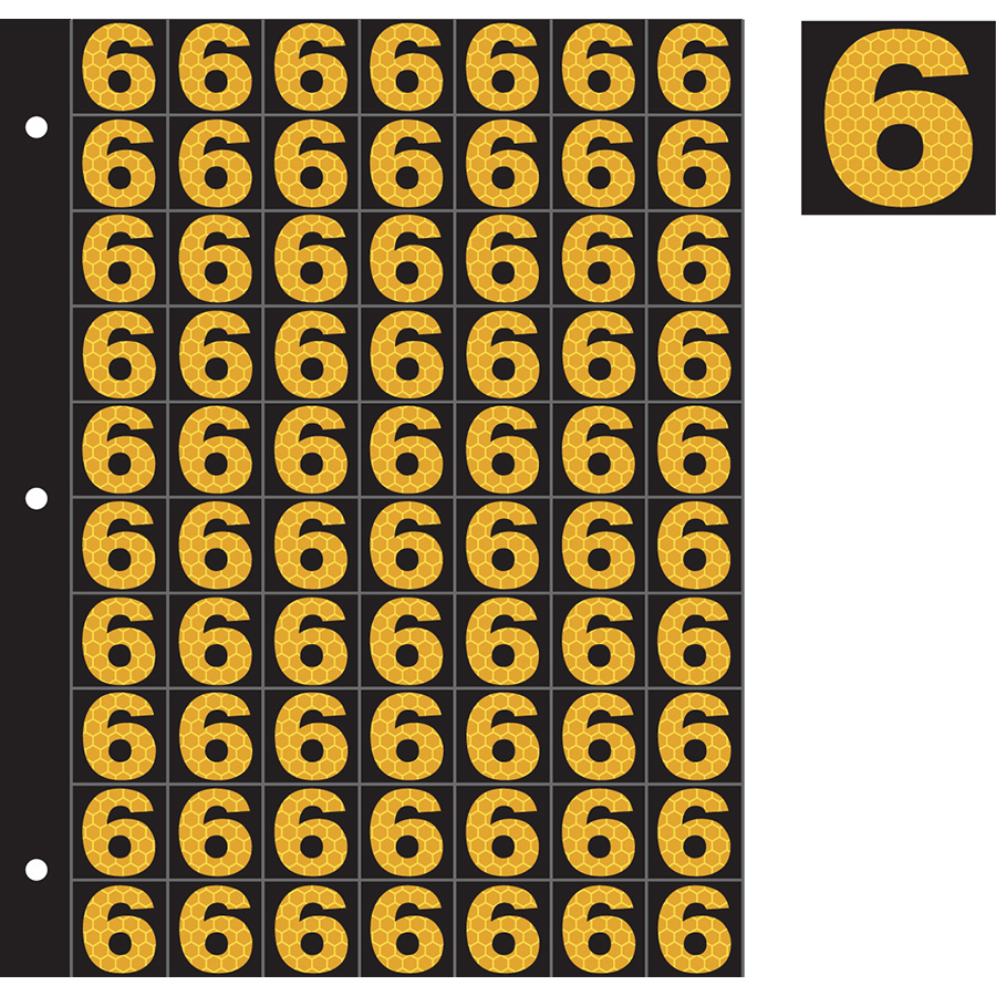 "1"" Yellow on Black SunBright® Reflective ""6"""