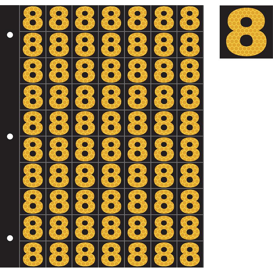 "1"" Yellow on Black SunBright® Reflective ""8"""