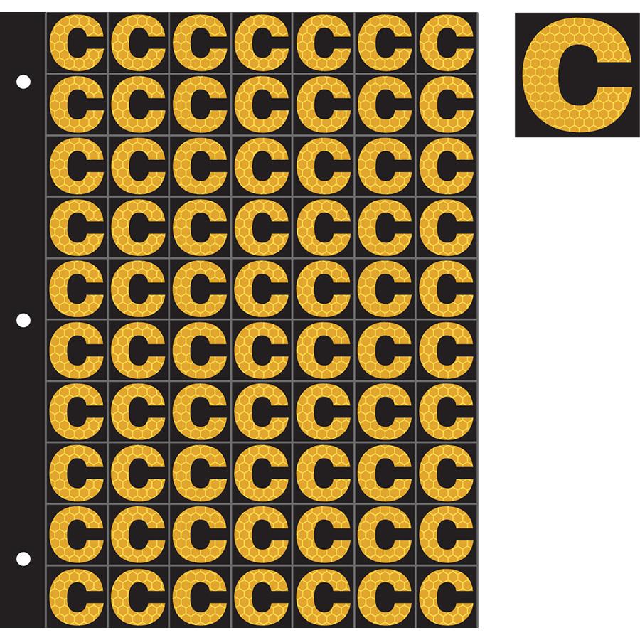 "1"" Yellow on Black SunBright® Reflective ""C"""