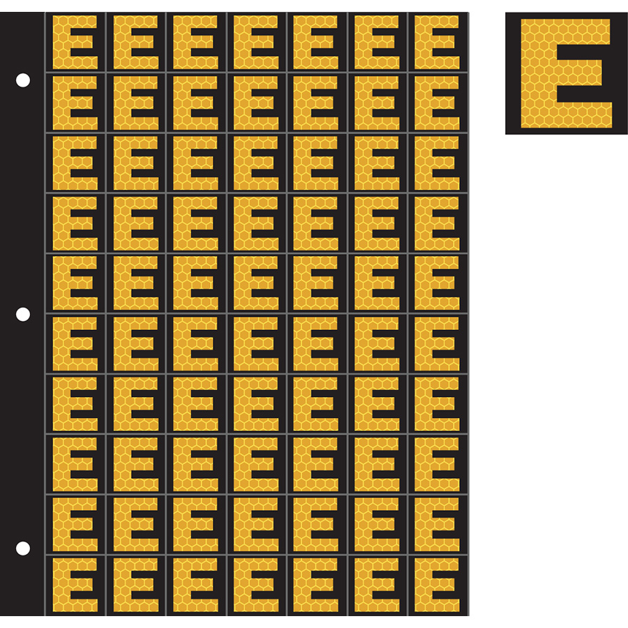 "1"" Yellow on Black SunBright® Reflective ""E"""