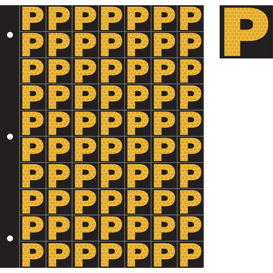"1"" Yellow on Black SunBright® Reflective ""P"""