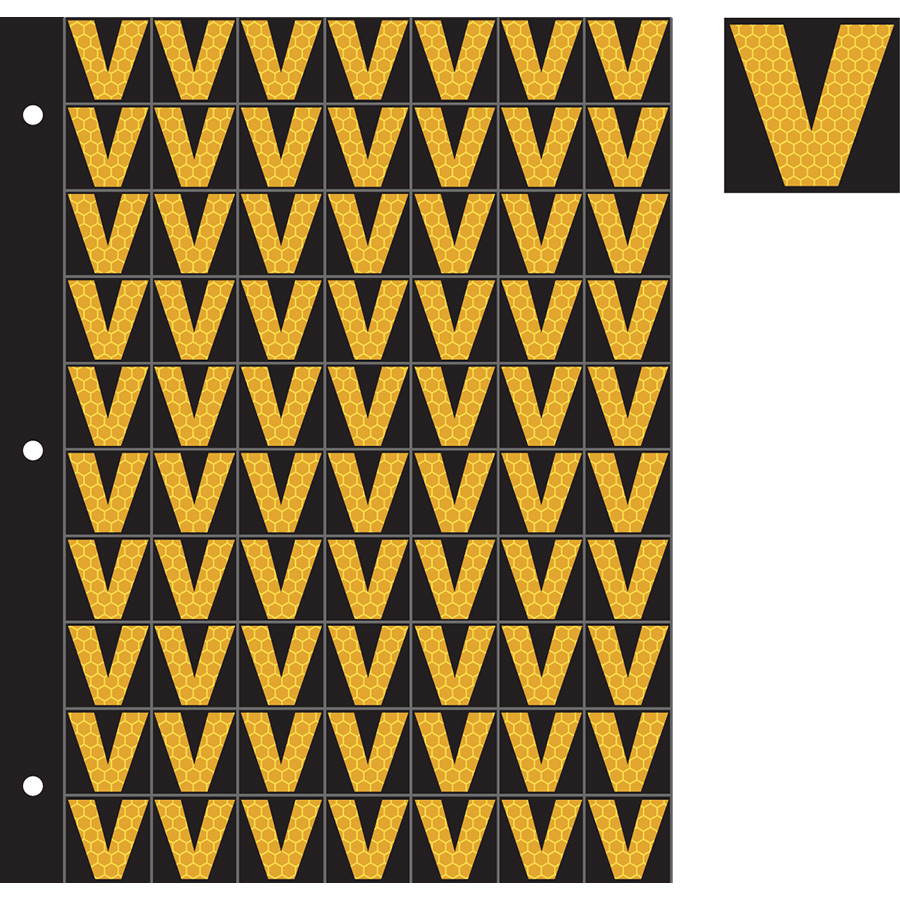 "1"" Yellow on Black SunBright® Reflective ""V"""