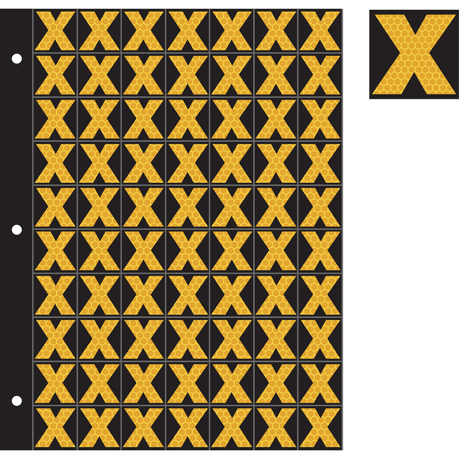 "1"" Yellow on Black SunBright® Reflective ""X"""