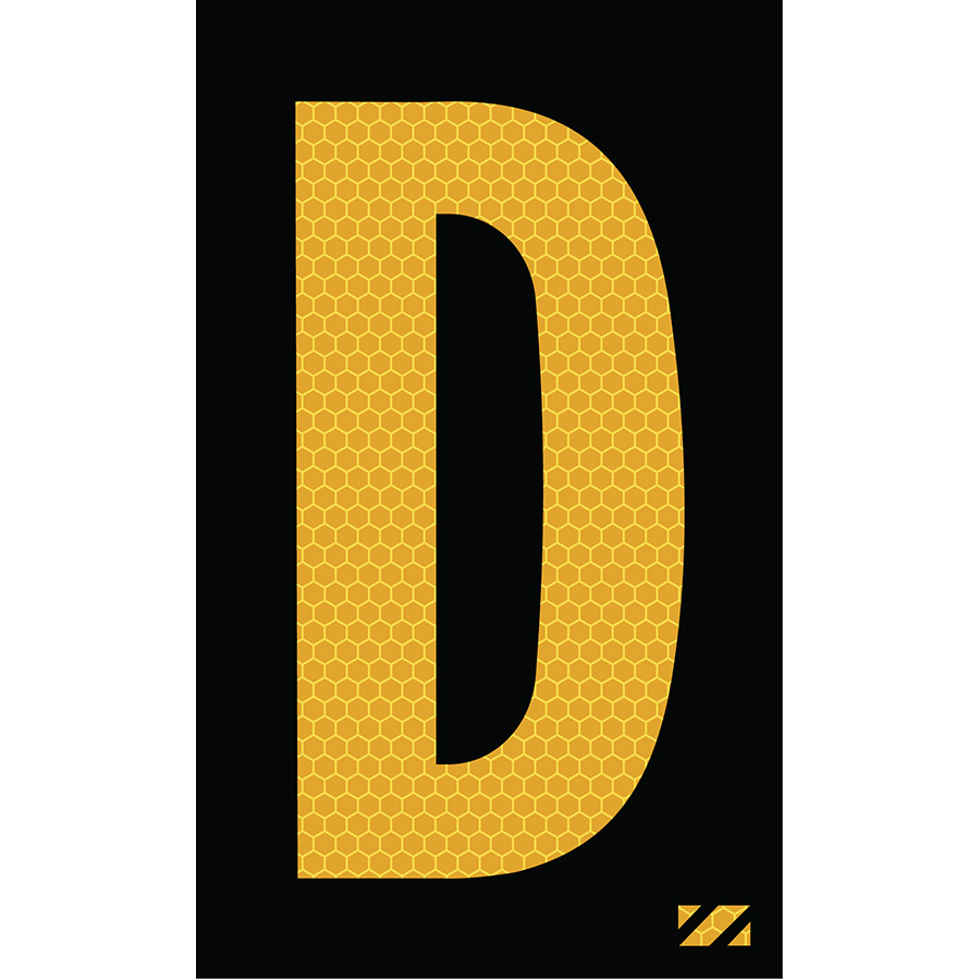 "2"" Yellow on Black SunBright® Reflective ""D"""