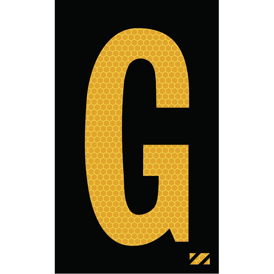 "2"" Yellow on Black SunBright® Reflective ""G"""