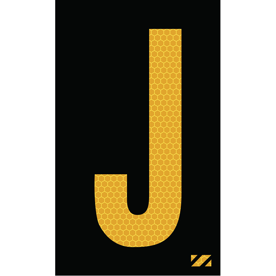 "2"" Yellow on Black SunBright® Reflective ""J"""