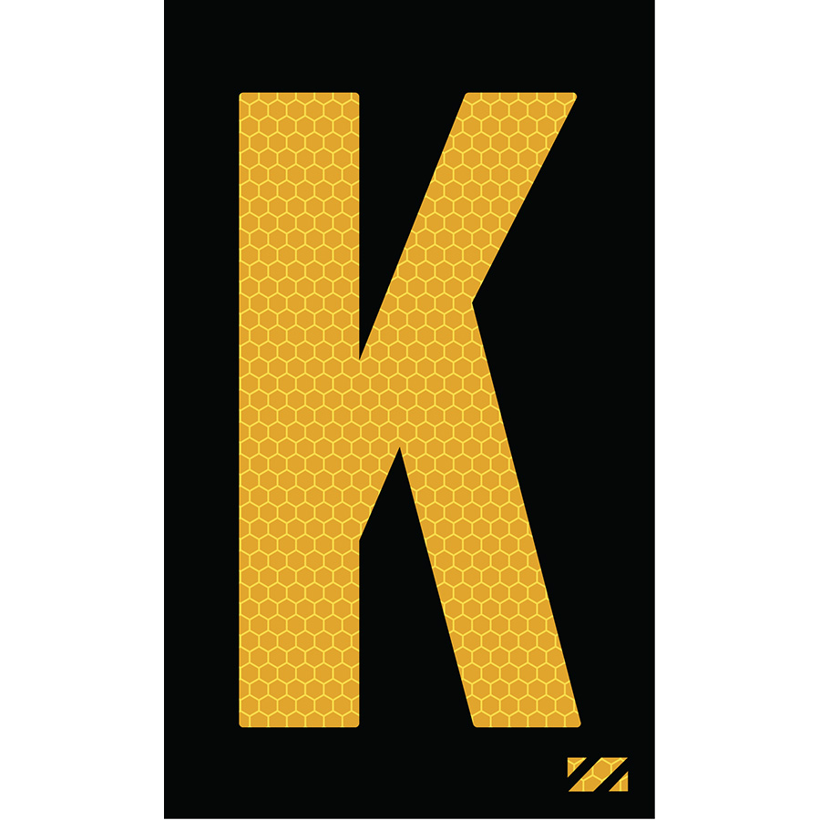 "2"" Yellow on Black SunBright® Reflective ""K"""