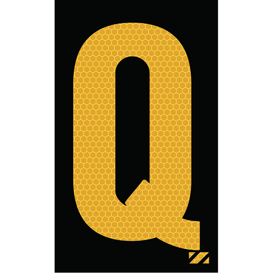 "2"" Yellow on Black SunBright® Reflective ""Q"""