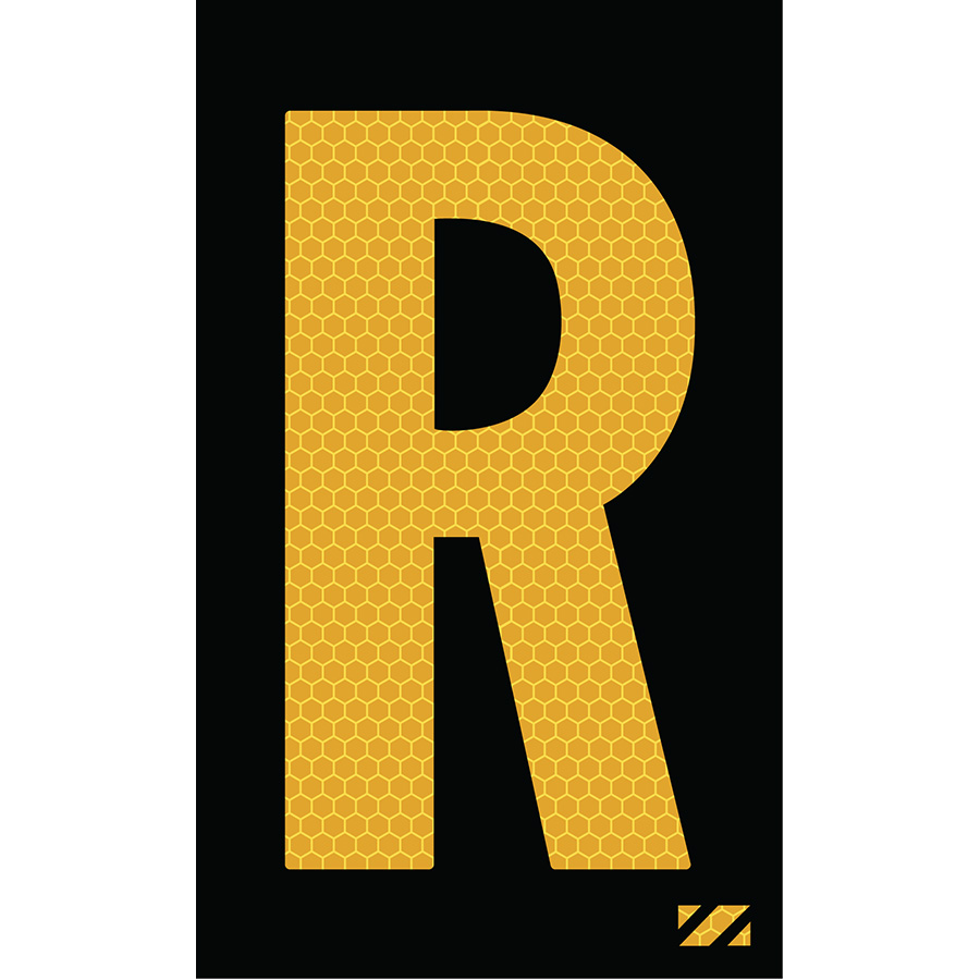 "2"" Yellow on Black SunBright® Reflective ""R"""