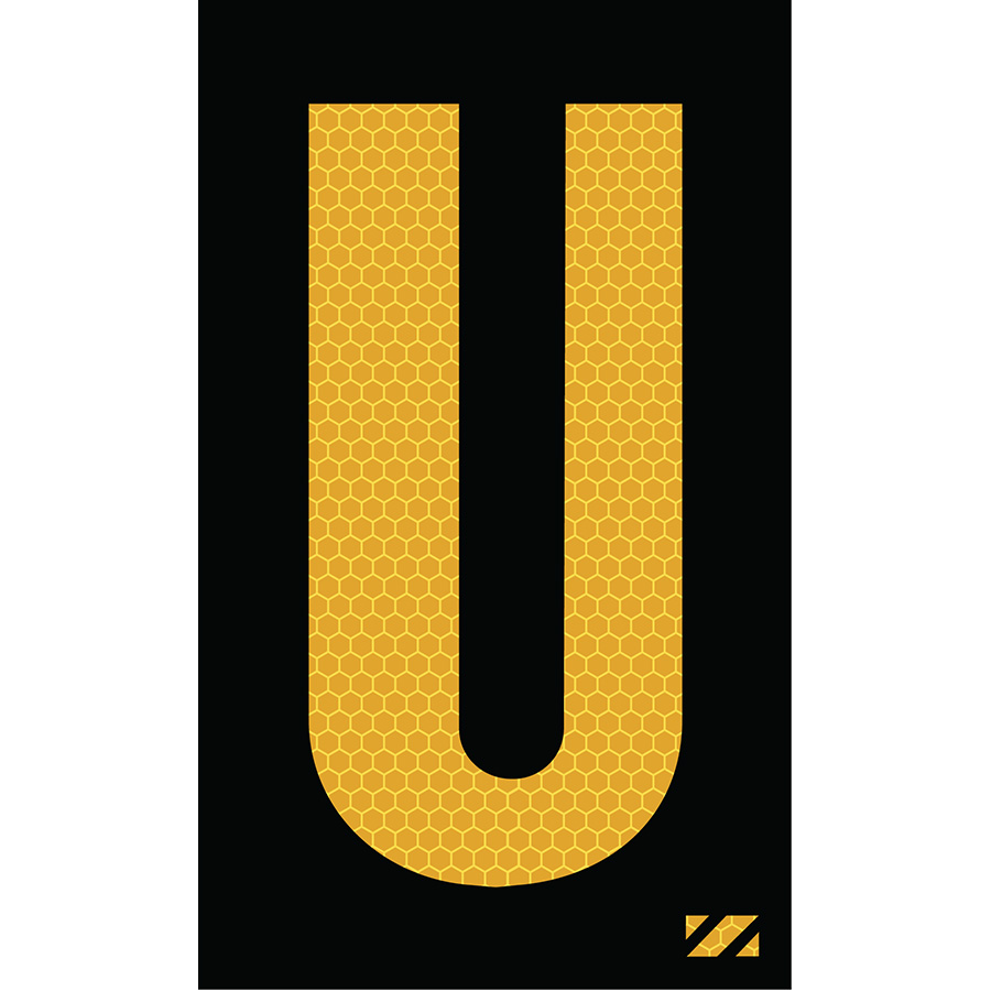 "2"" Yellow on Black SunBright® Reflective ""U"""