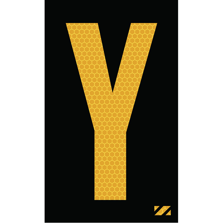 "2"" Yellow on Black SunBright® Reflective ""Y"""