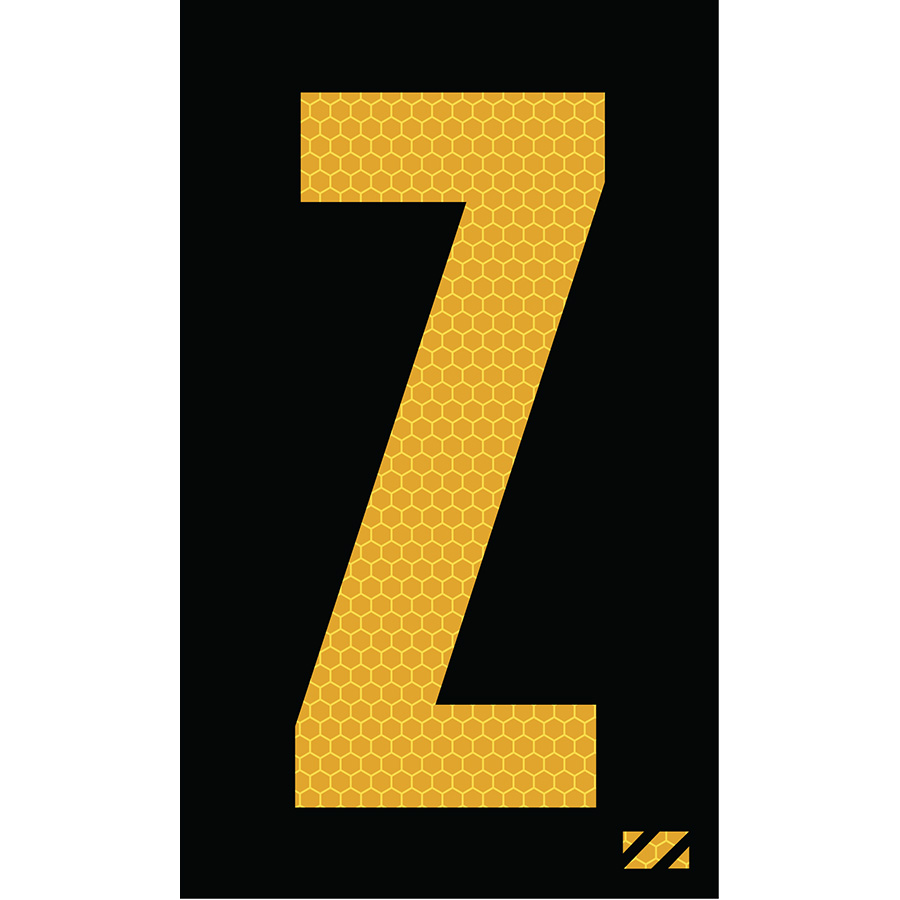 "2"" Yellow on Black SunBright® Reflective ""Z"""