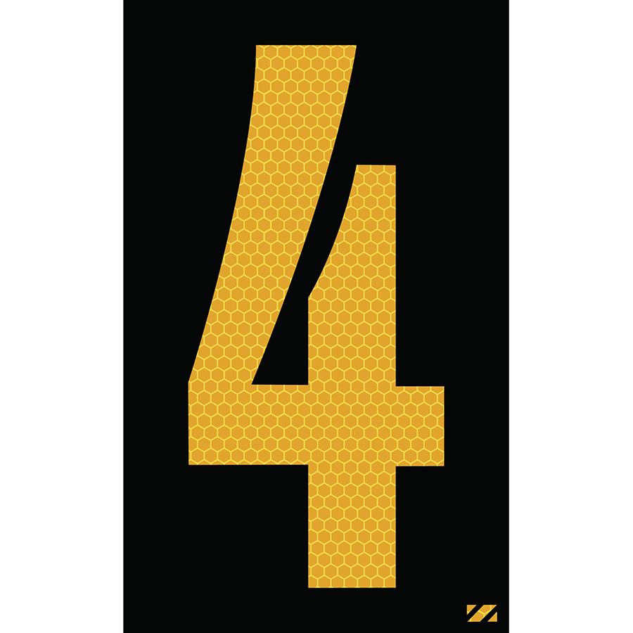 "2.5"" Yellow on Black SunBright® Reflective ""4"""