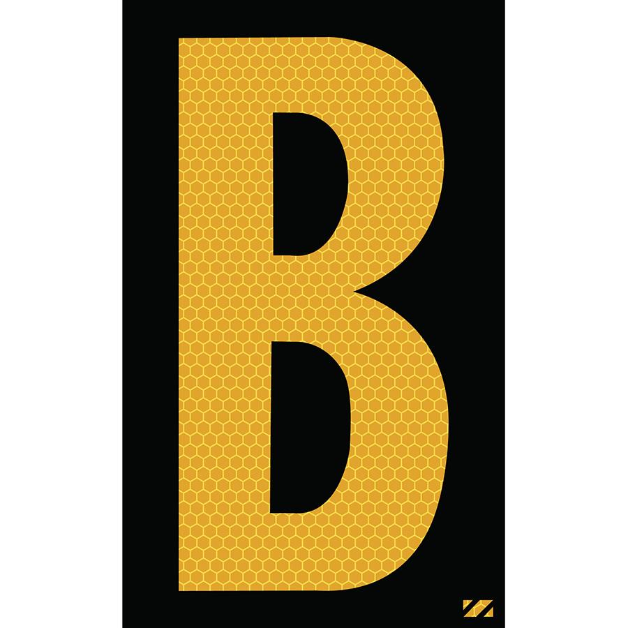 "2.5"" Yellow on Black SunBright® Reflective ""B"""