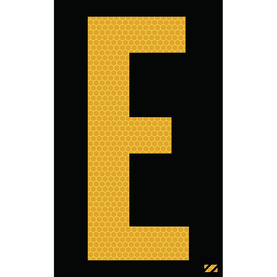 "2.5"" Yellow on Black SunBright® Reflective ""E"""