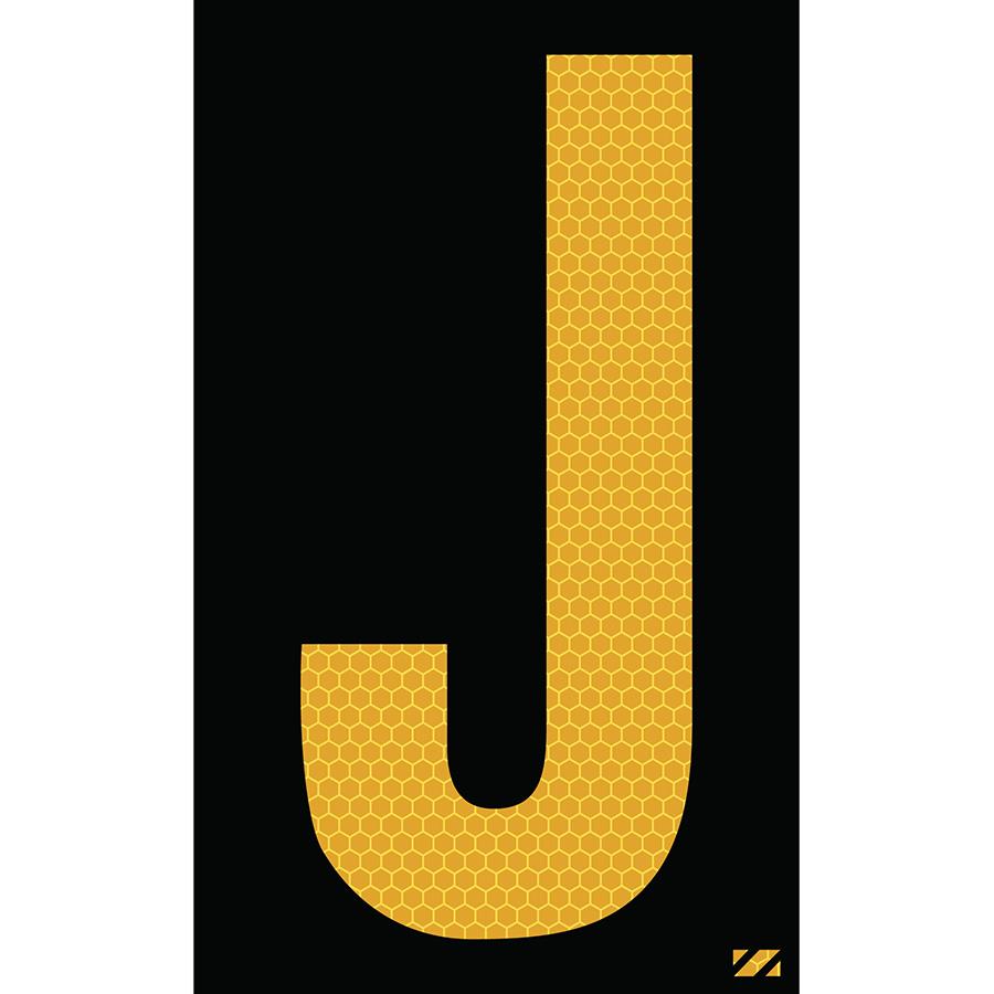 "2.5"" Yellow on Black SunBright® Reflective ""J"""
