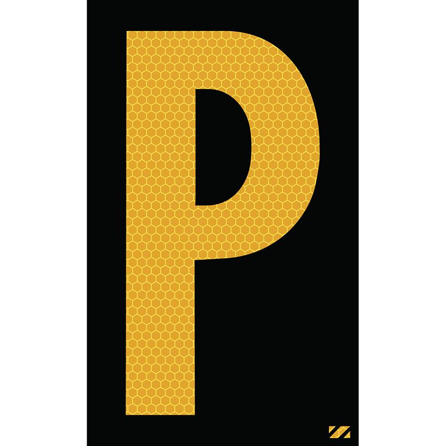 "2.5"" Yellow on Black SunBright® Reflective ""P"""