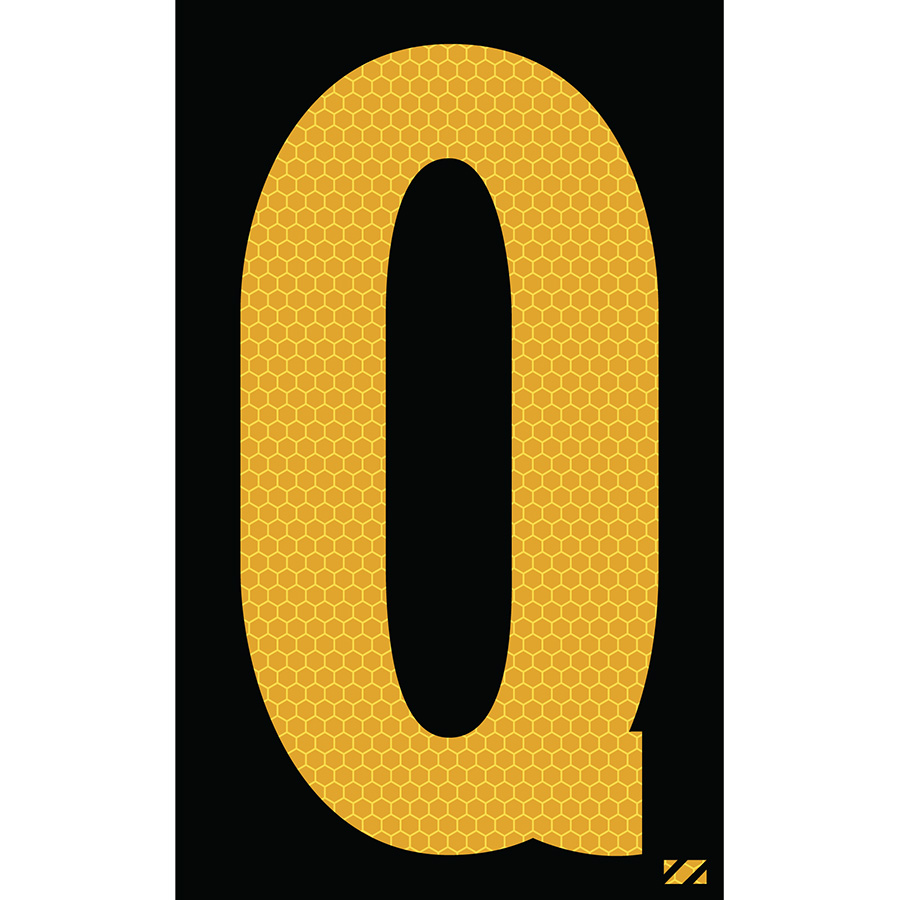 "2.5"" Yellow on Black SunBright® Reflective ""Q"""