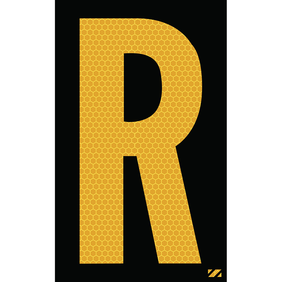 "2.5"" Yellow on Black SunBright® Reflective ""R"""