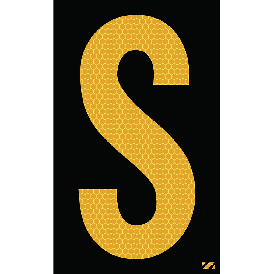 "2.5"" Yellow on Black SunBright® Reflective ""S"""