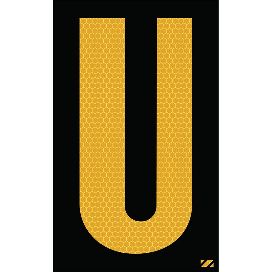 "2.5"" Yellow on Black SunBright® Reflective ""U"""