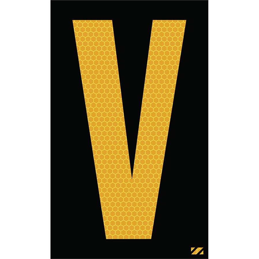 "2.5"" Yellow on Black SunBright® Reflective ""V"""