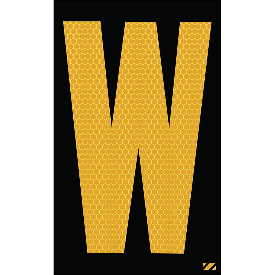 "2.5"" Yellow on Black SunBright® Reflective ""W"""
