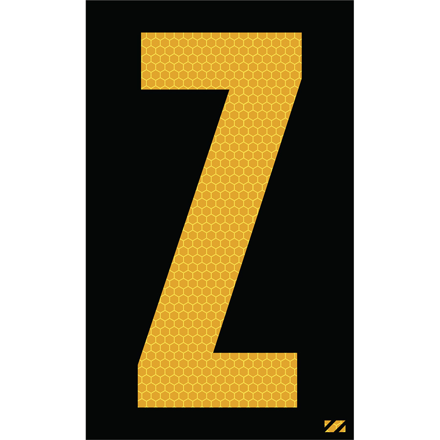 "2.5"" Yellow on Black SunBright® Reflective ""Z"""