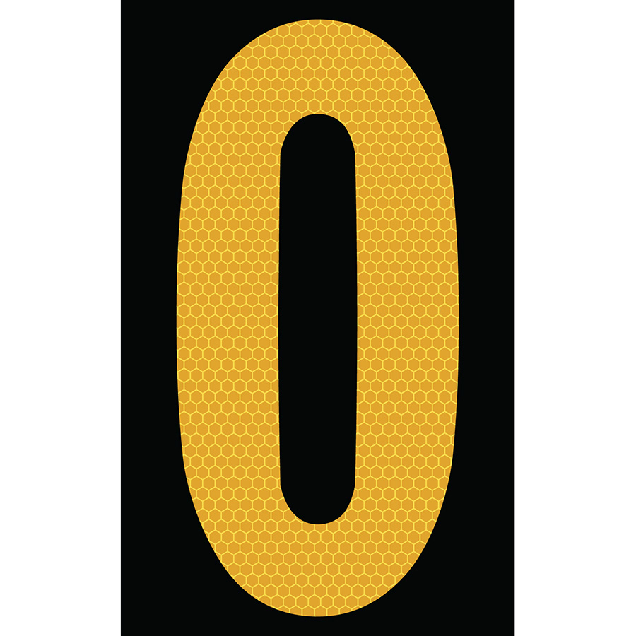 "3"" Yellow on Black SunBright® Reflective ""0"""