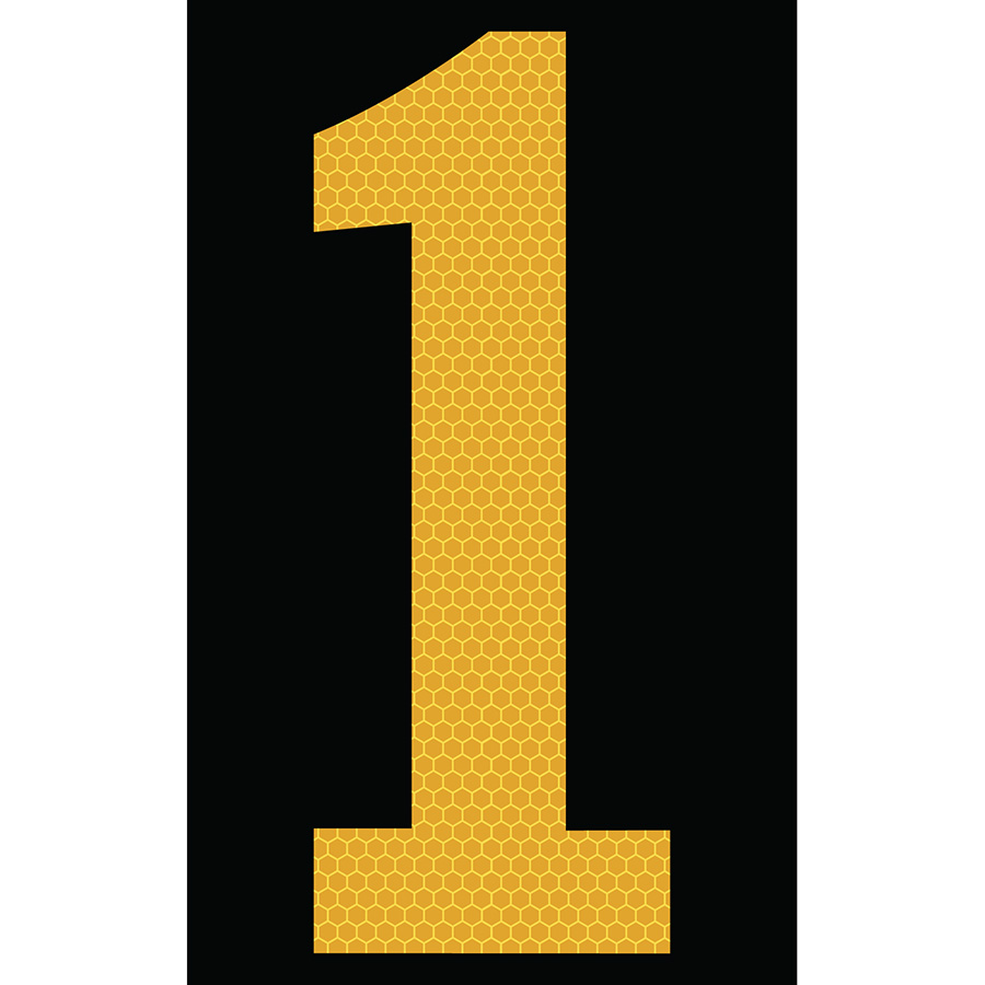 "3"" Yellow on Black SunBright® Reflective ""1"""