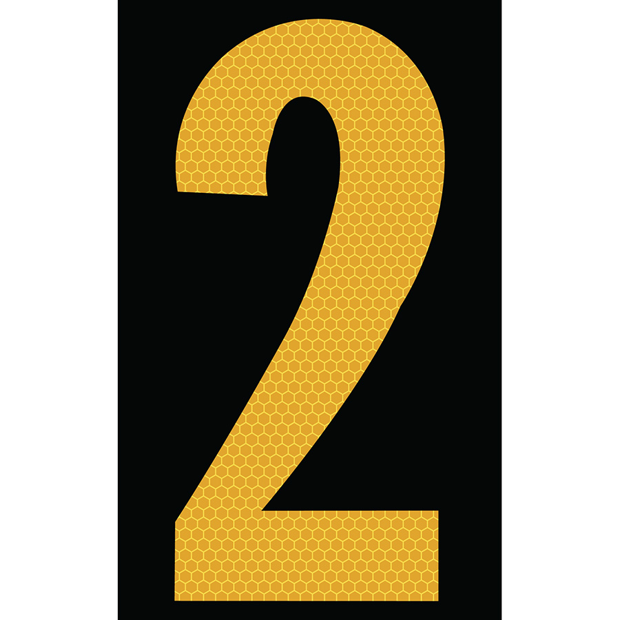 "3"" Yellow on Black SunBright® Reflective ""2"""