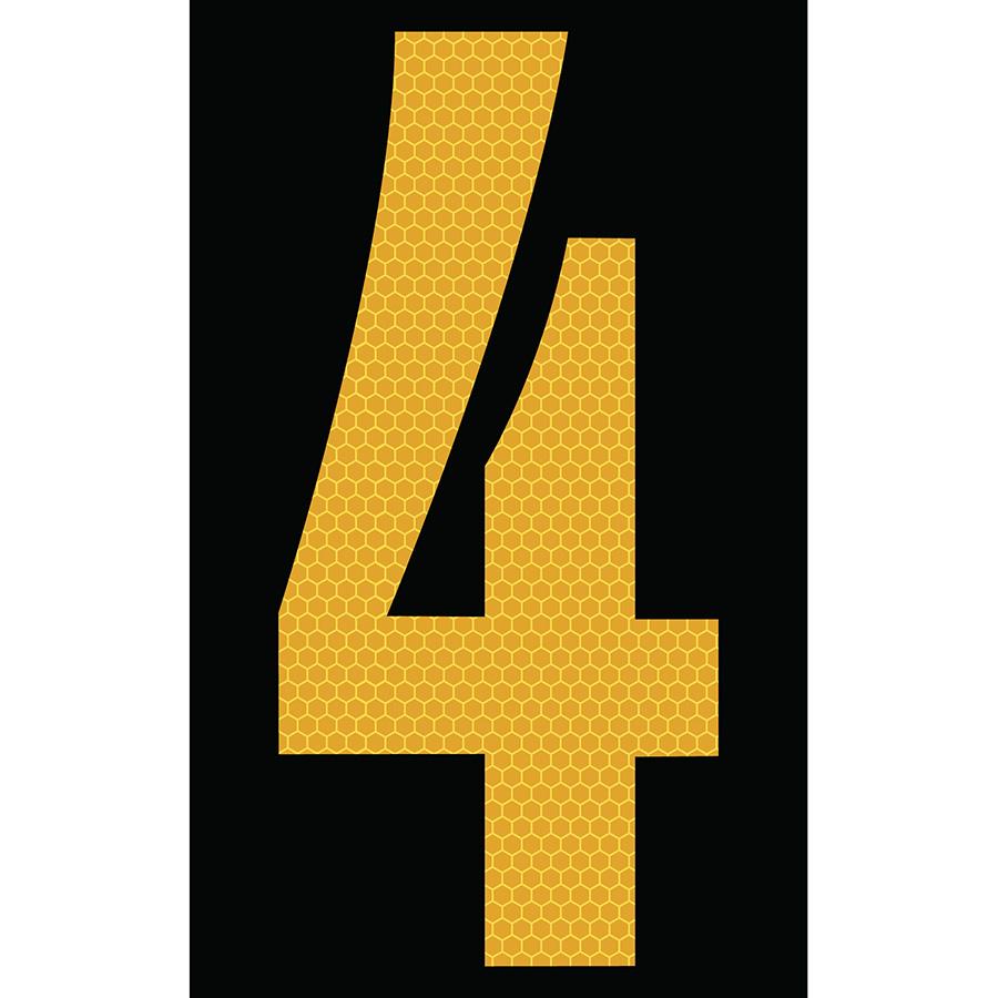 "3"" Yellow on Black SunBright® Reflective ""4"""