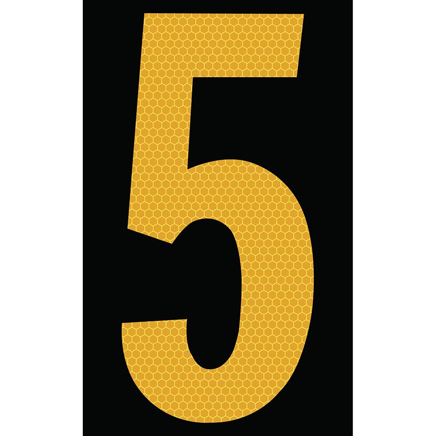 "3"" Yellow on Black SunBright® Reflective ""5"""