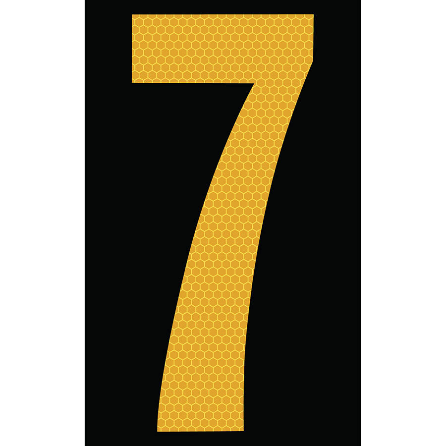 "3"" Yellow on Black SunBright® Reflective ""7"""