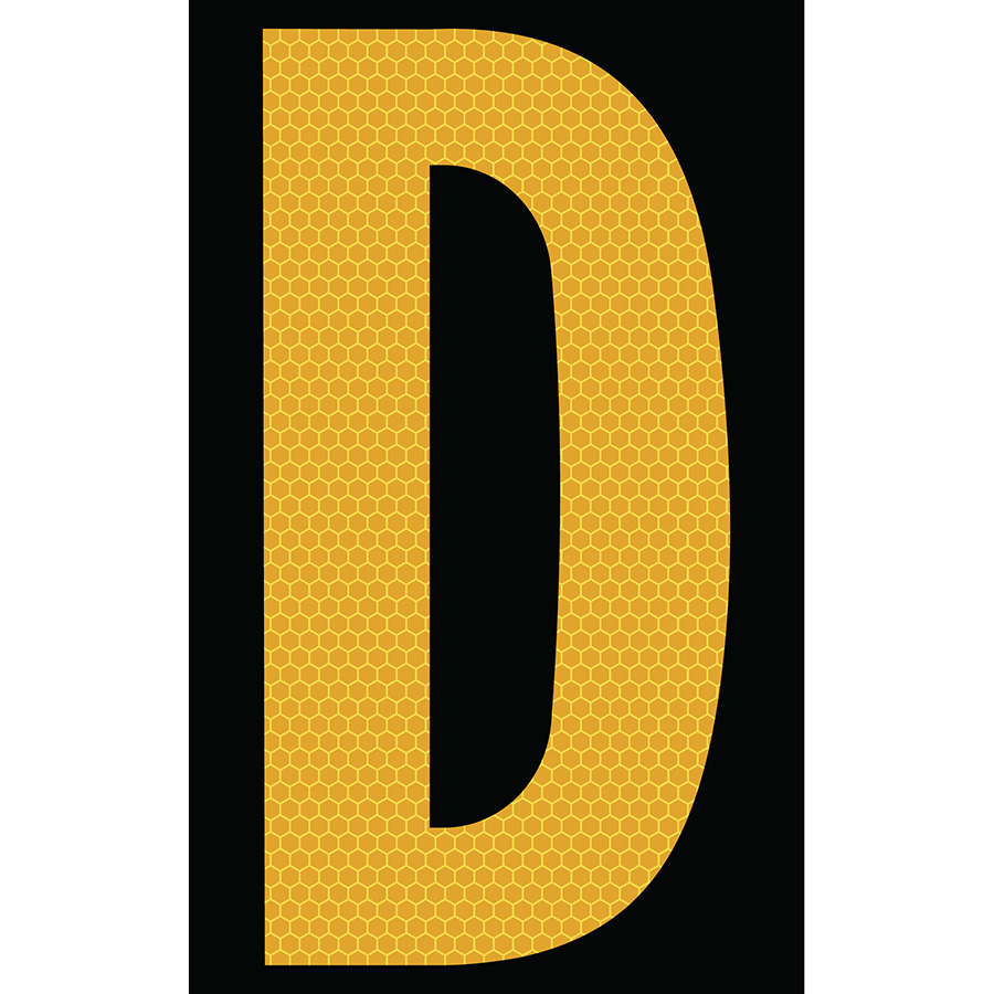 "3"" Yellow on Black SunBright® Reflective ""D"""
