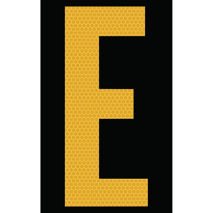 "3"" Yellow on Black SunBright® Reflective ""E"""