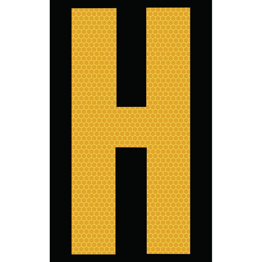 "3"" Yellow on Black SunBright® Reflective ""H"""