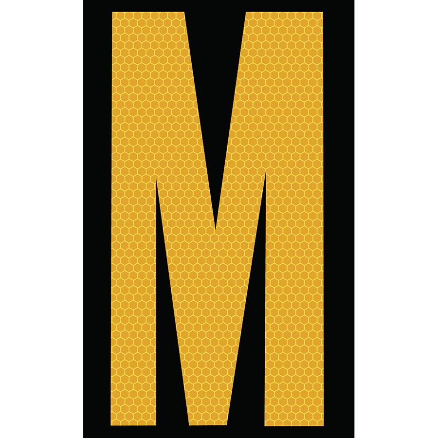 "3"" Yellow on Black SunBright® Reflective ""M"""