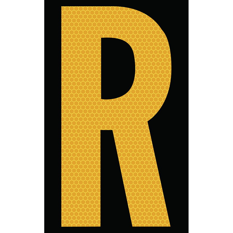 "3"" Yellow on Black SunBright® Reflective ""R"""