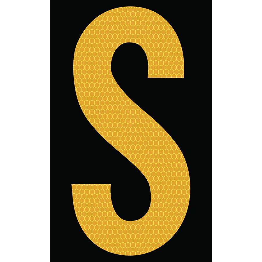 "3"" Yellow on Black SunBright® Reflective ""S"""