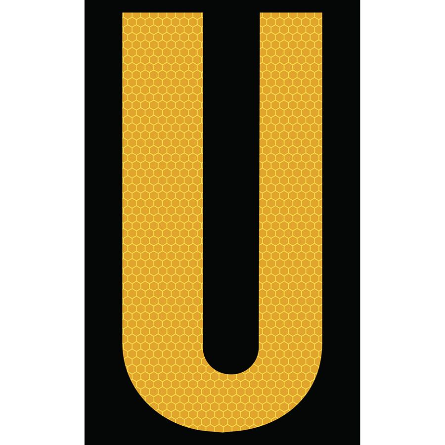 "3"" Yellow on Black SunBright® Reflective ""U"""