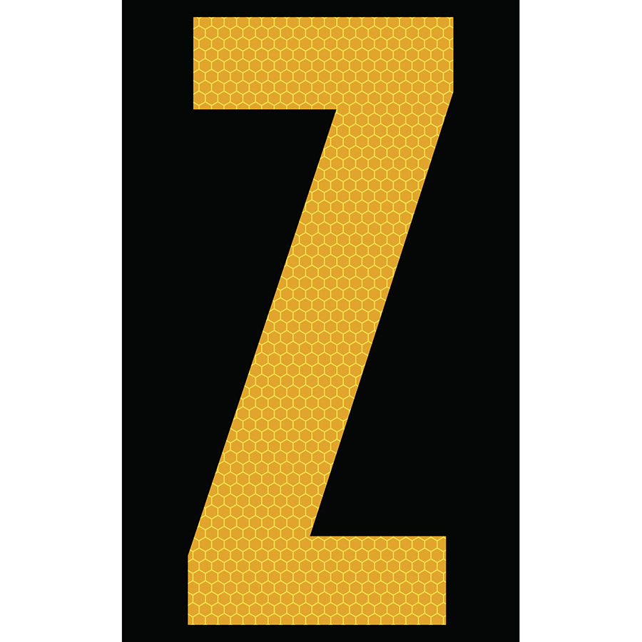 "3"" Yellow on Black SunBright® Reflective ""Z"""