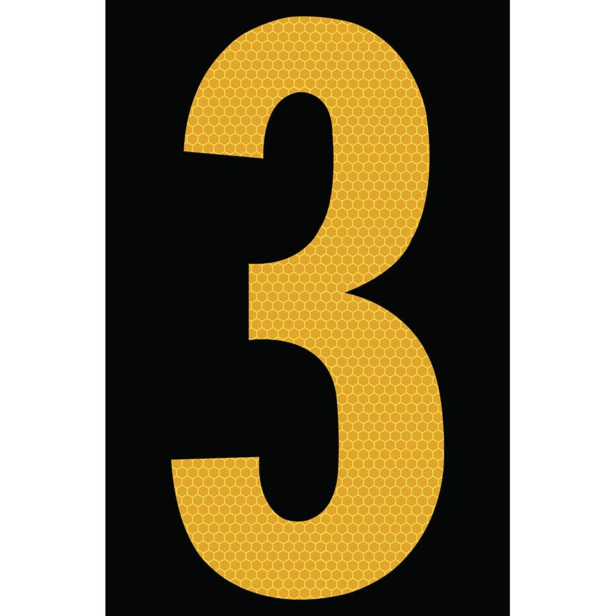 "4"" Yellow on Black SunBright® Reflective ""3"""