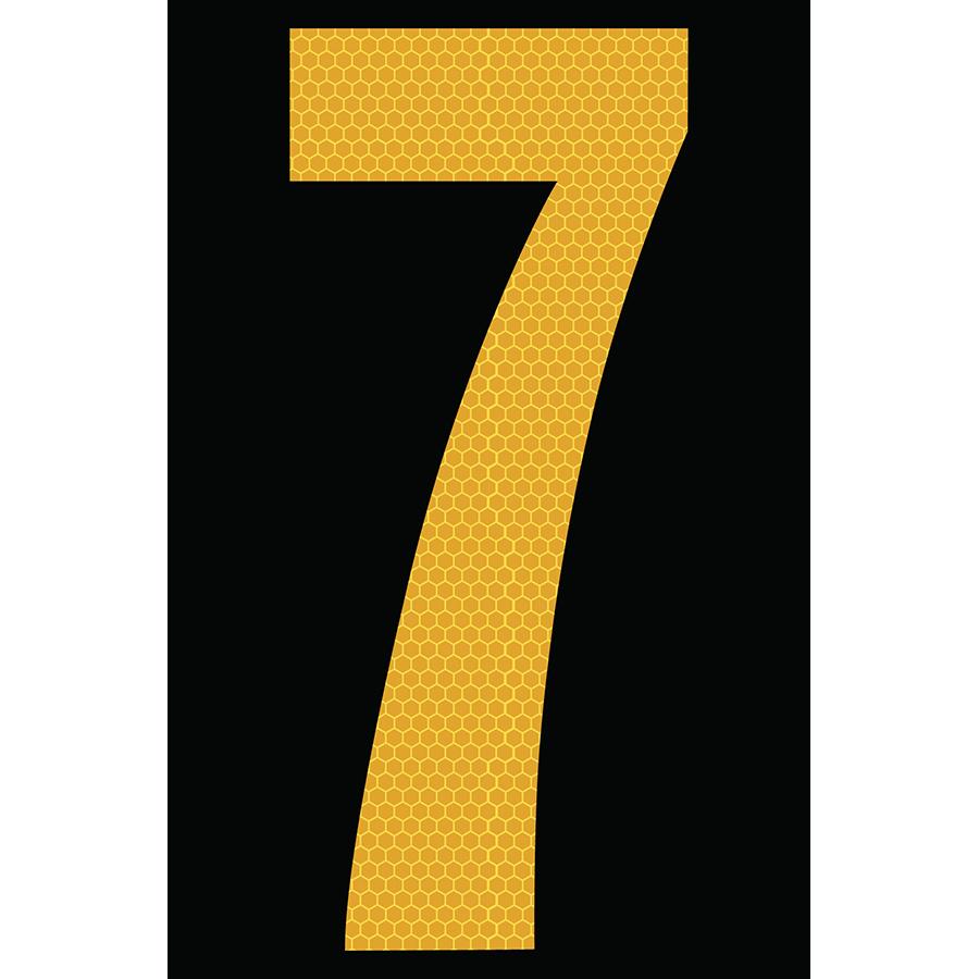 "4"" Yellow on Black SunBright® Reflective ""7"""